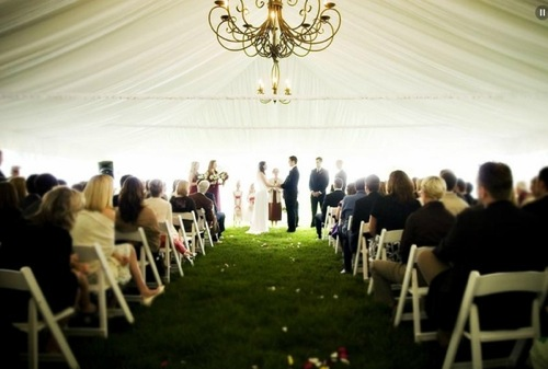 If it rains our ceremony will take place under a tent